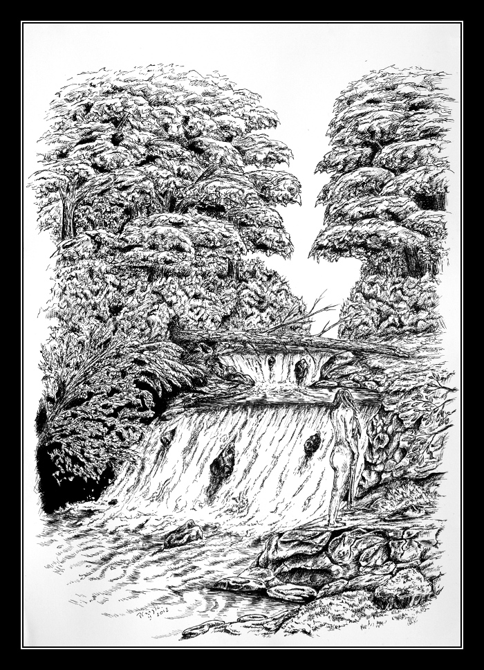 Waterfall - pen and ink by czajka