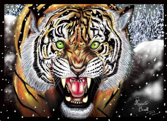 Tiger Roaring - Winter Version. by RobertoBonelli