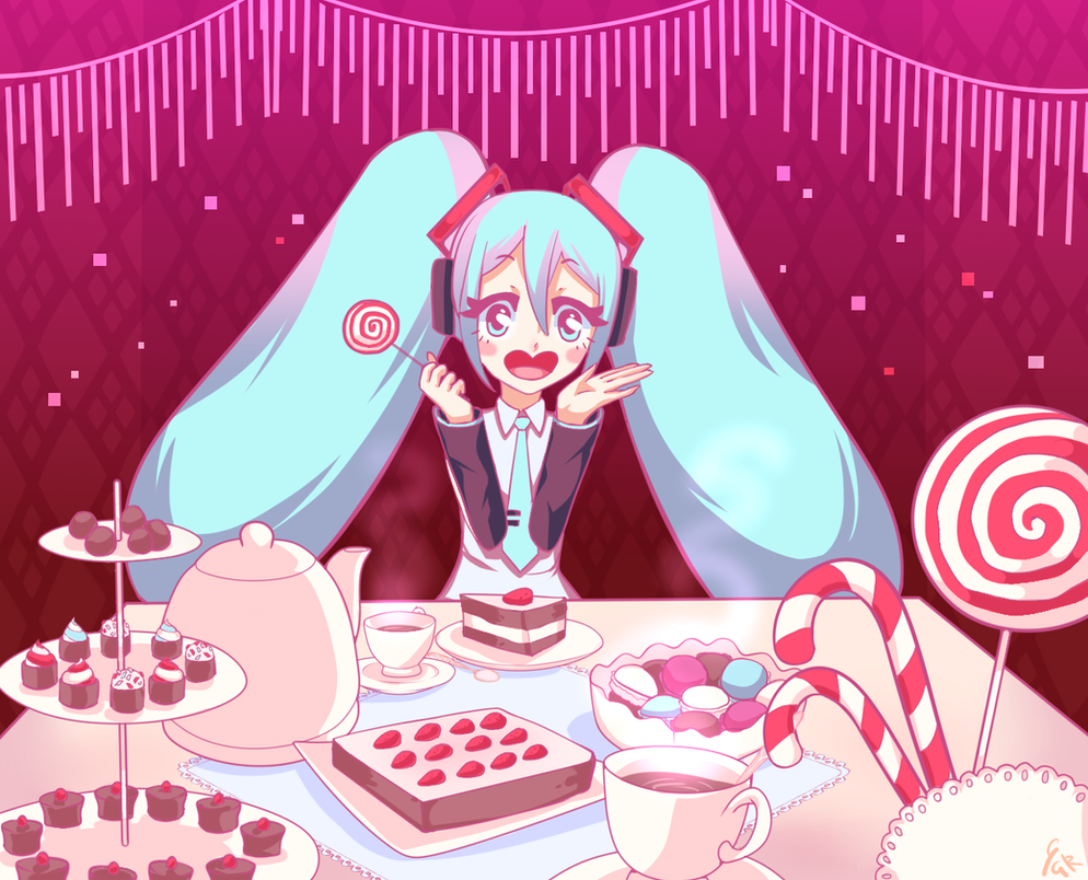 Teatime with Miku by Vexkex