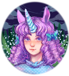 Ordinary unicorn girl in evening by Vexkex