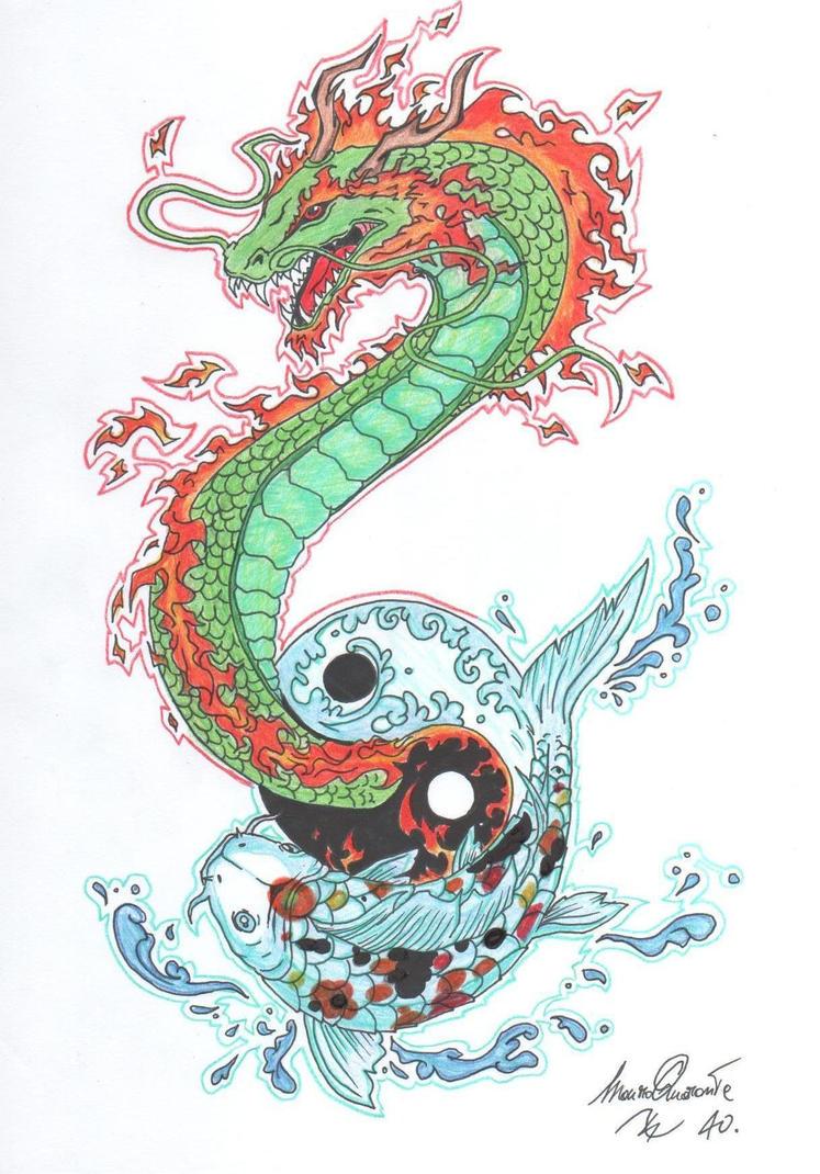 Koi fish dragon tattoo
