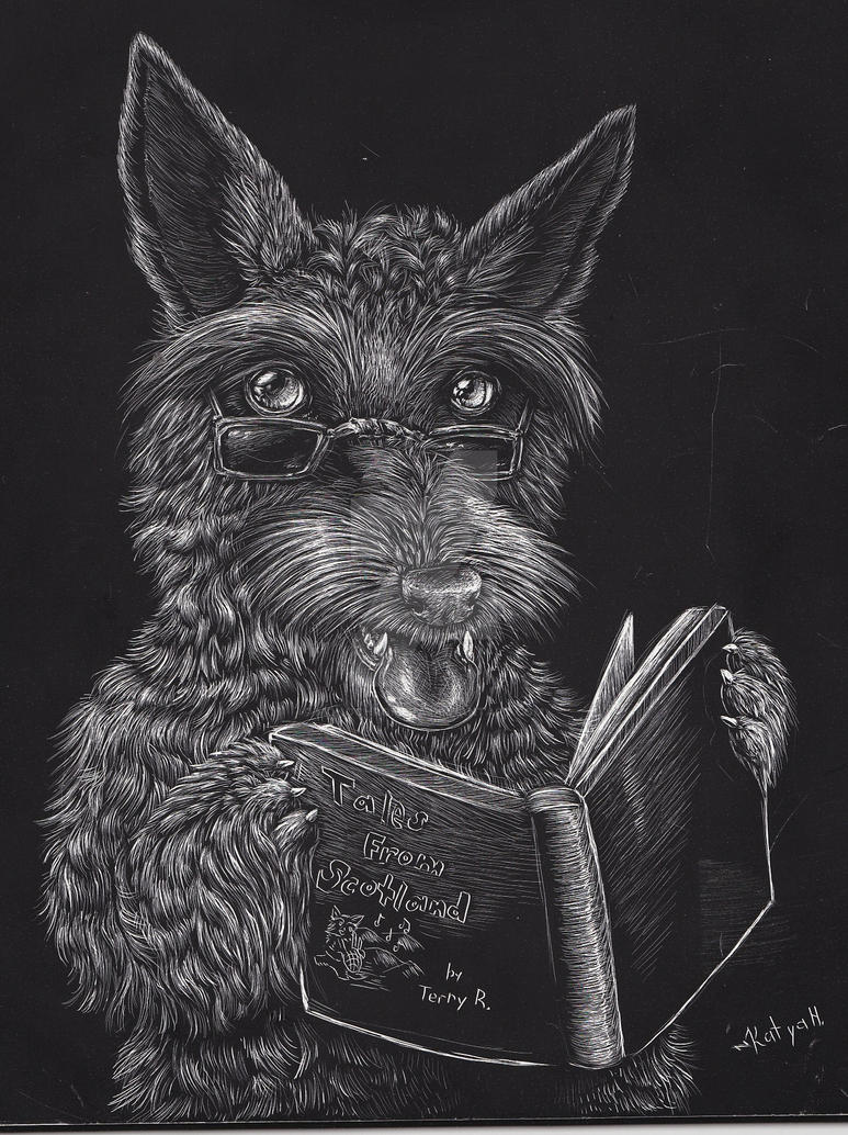 Scratchboard Scottie by monochromera