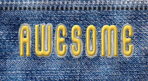 Text in jeans