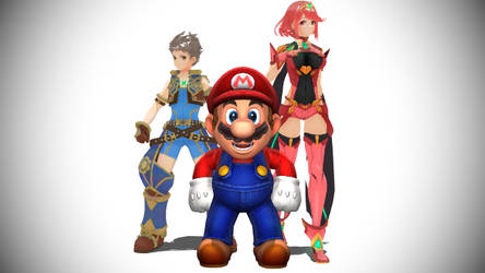 Mario, Rex, And Pyra by HugoSanchez2000