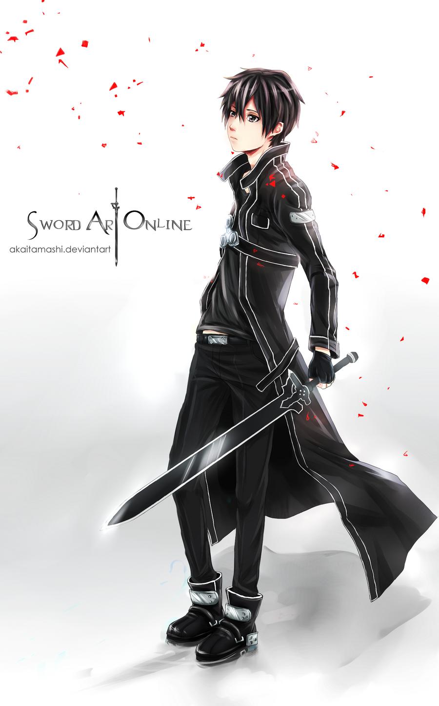 Sword art online kirito by akaitamashi fan art manga anime digital