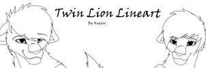 Twin Male Lion Line Art