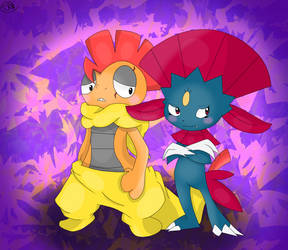 My scrafty and weavile (well future weavile) by SugarLemonDrops
