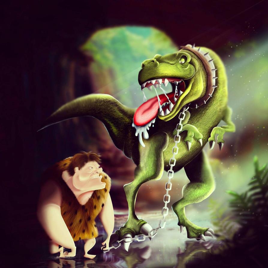 Digital painting cavemen and t-rex  by Miyu-Maneki