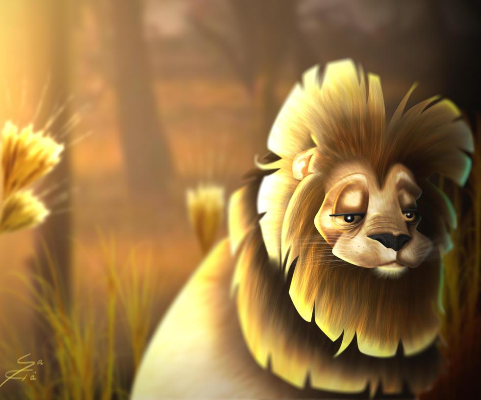 SO tired to be a lion by Miyu-Maneki