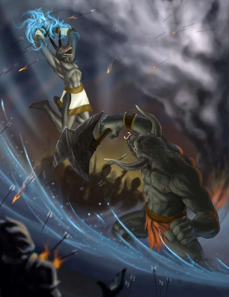 Anubis vs The Minotaur by ThranTantra