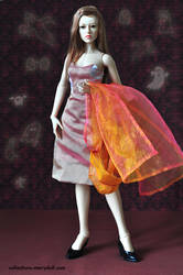 Pink and orange two pieces organza set for Ginny by mary-vassilieva