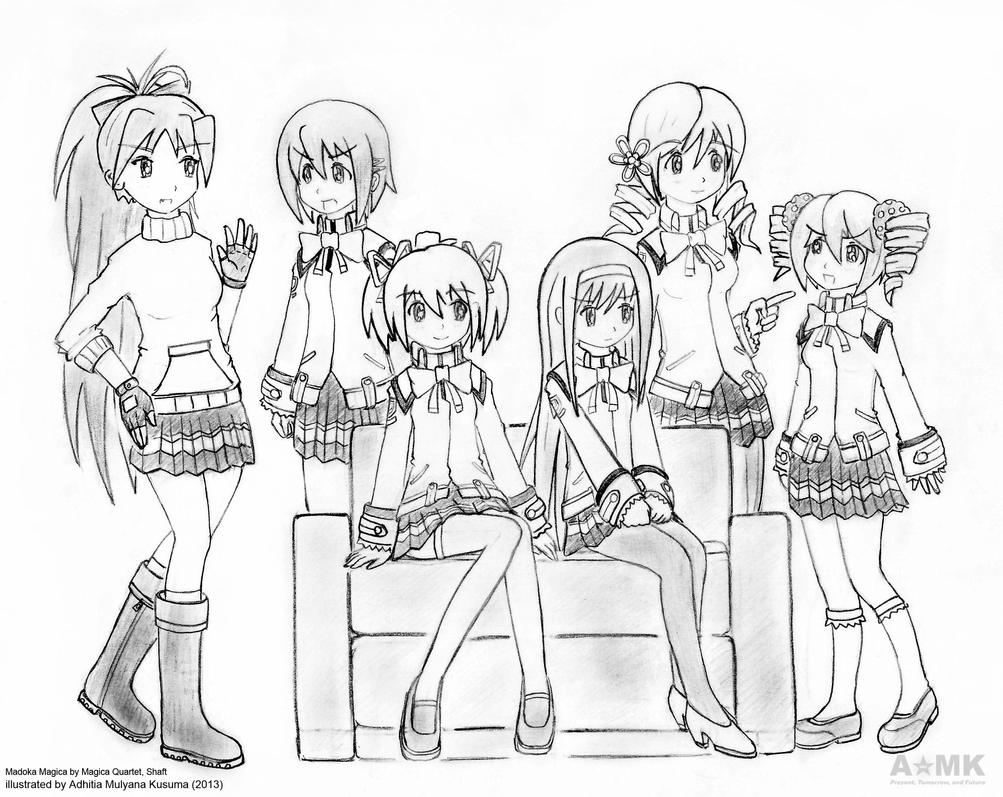 Madoka and friends by adhitia on DeviantArt