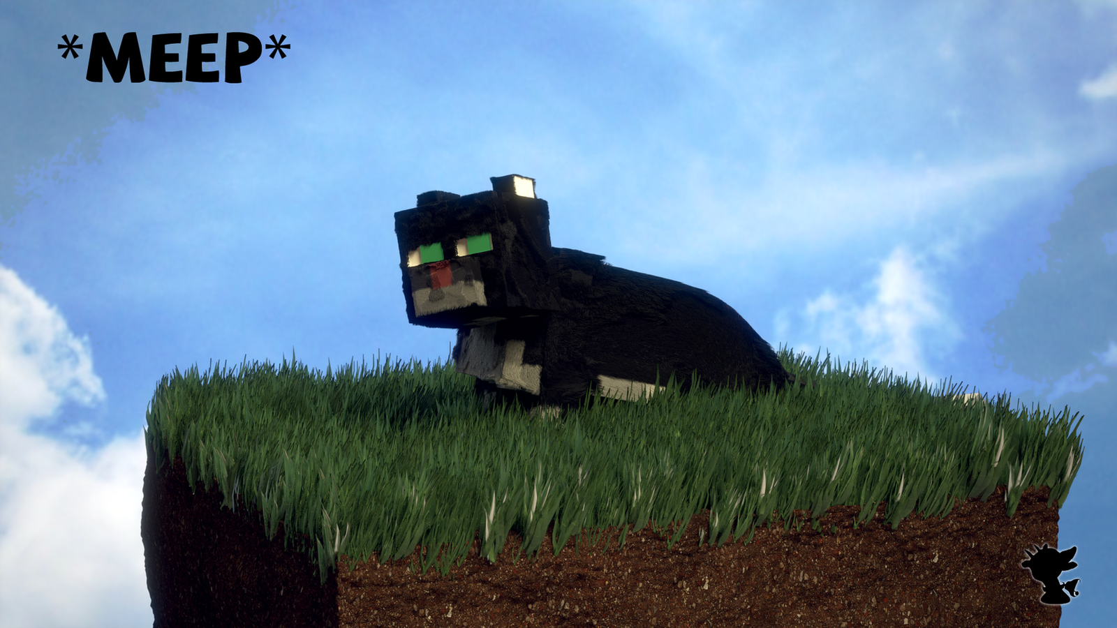 A Reasonably Realistic Minecraft Cat on Grass by ...