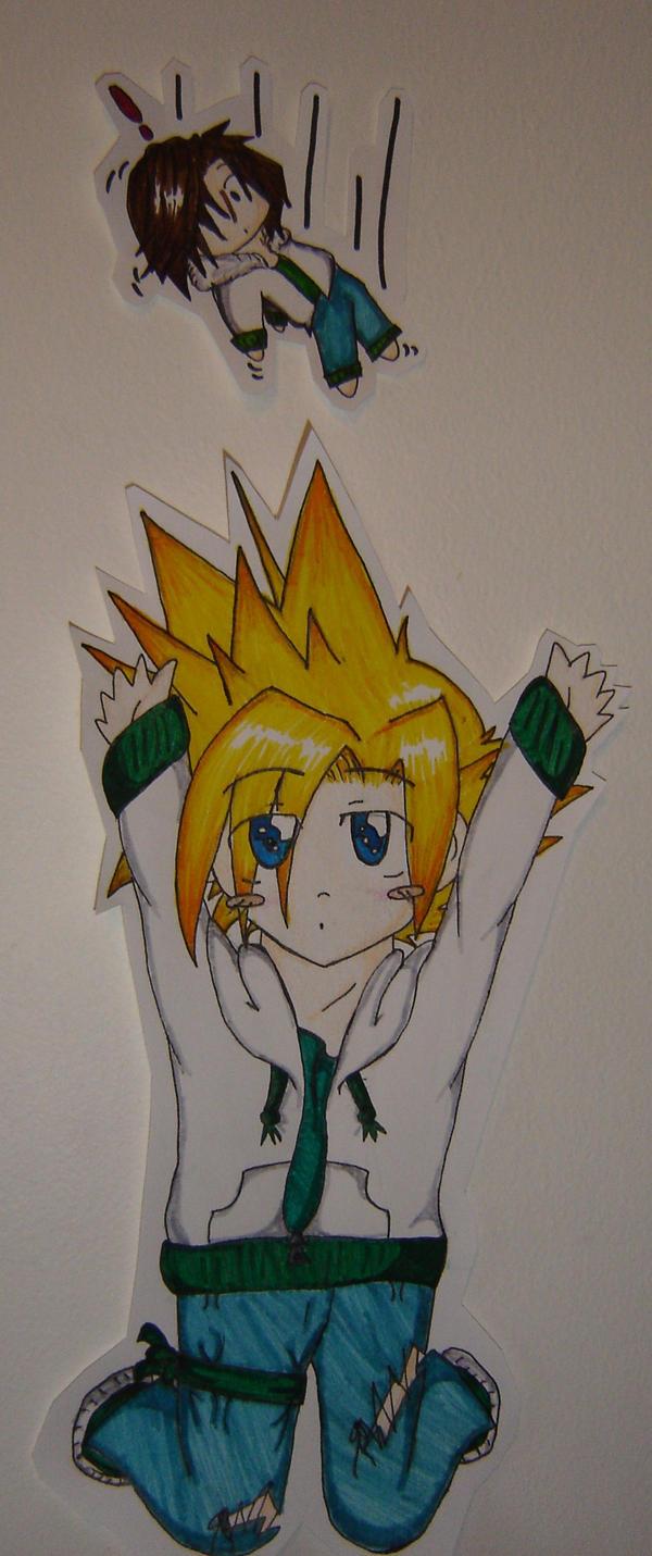 Chibi Cloud + Squall plushie by Majikaru-Rin