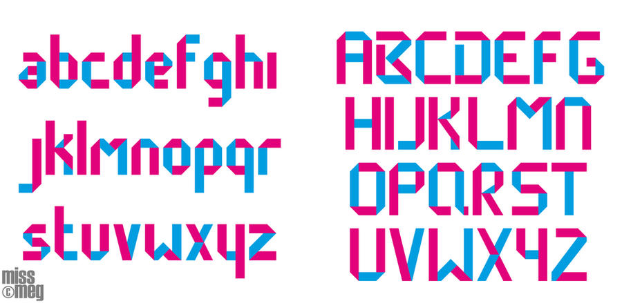 origami typeface design by dragonthechain on deviantart