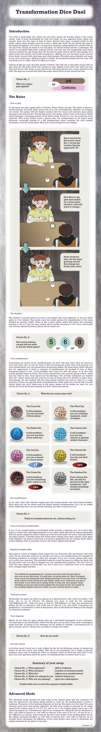 Transformation Dice Duel Game - Rules Sheet