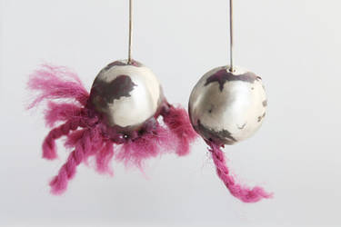 Unique and cool pink silver earrings by notAjewelry