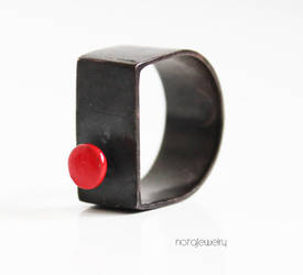 Contemporary black ring with red dot by notAjewelry