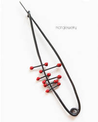 Modern black and red pin by notAjewelry