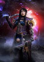 World of Warcraft Bloodelf Death Knight by cyehra