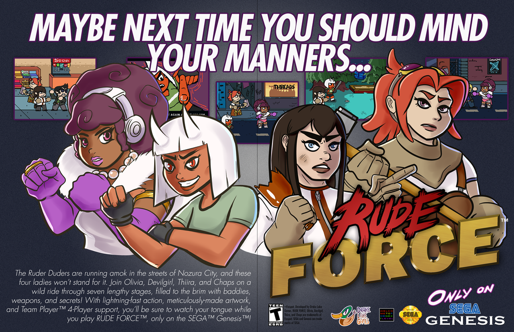 Rude Force - 90's Videogame Ads by DrakeLake