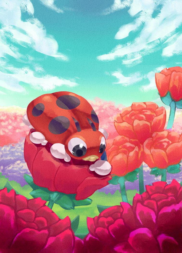 Day 16 - Ledyba (playing on roses *^*) by hiko-kujaku