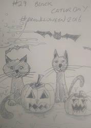 29. 'Black Cat-urday' #Drawlloween2016 by KenjiArtWorks