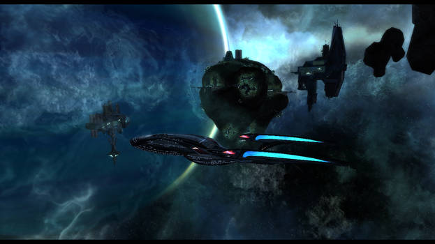 USS Endurance Leavinig A Asteroid Base