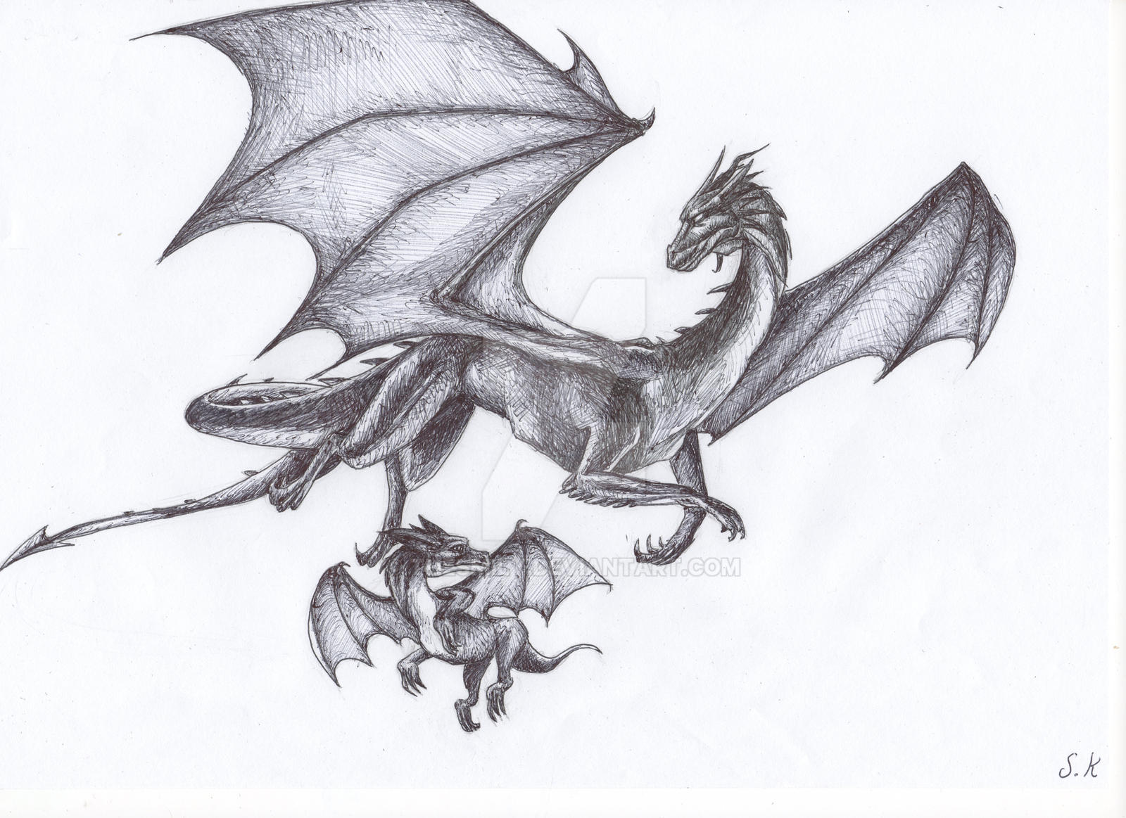flying dragon mum and her baby by thesmily on deviantart