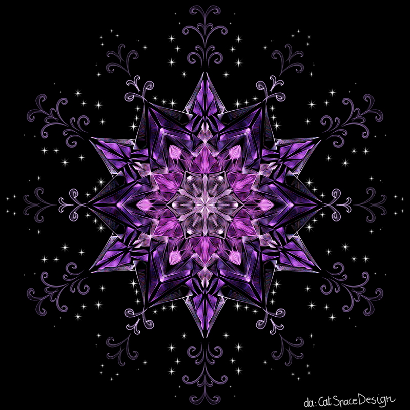 Purple Floral Glass by CatSpaceDesign