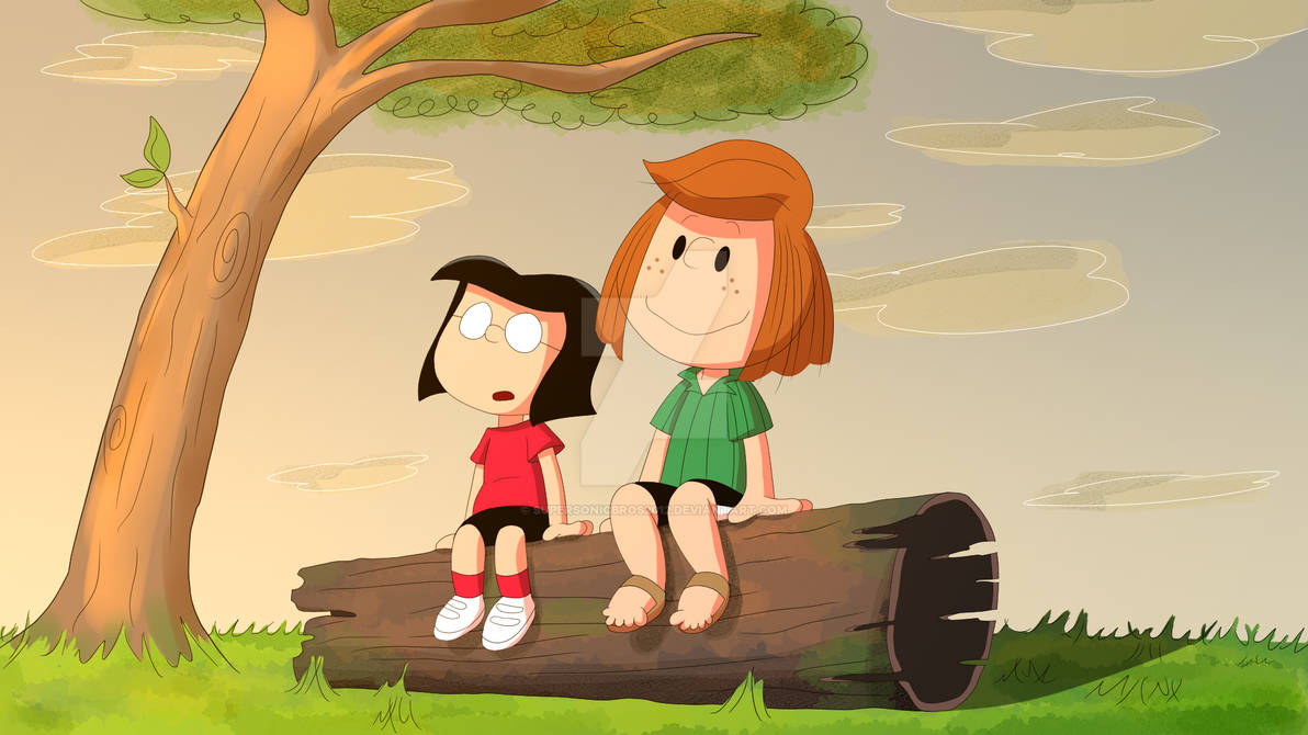 Peppermint Patty and Marcie watching the sunset