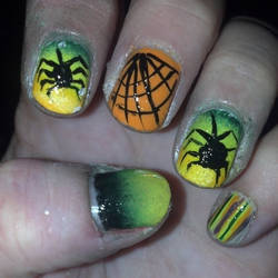 Neon Ombre Spiders and Web