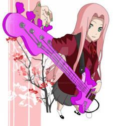 Sakura Haruno playing guitar by Kawaii-Ivee99