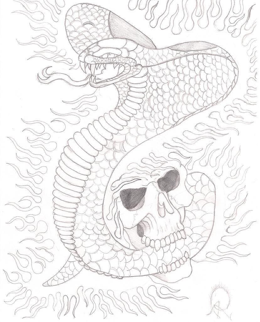 cobra - skull tattoo  Cobra Skeleton Tattoo