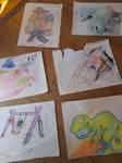 Drawings by me, my nephew and my niece