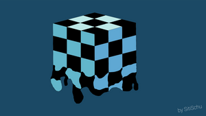 Cube with Chess pattern floating apart