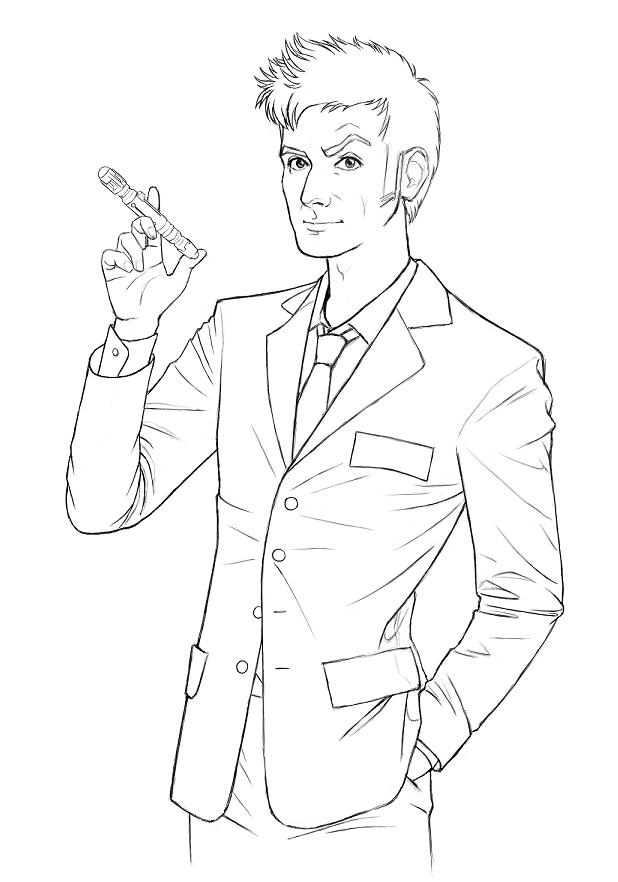10th Doctor - lineart by ame-natsuno