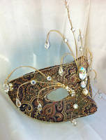 Dark Princess Brocade and Brass Wire Mask by DaraGallery