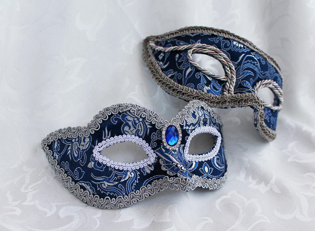 Blue and Silver Brocade Couples Masks by DaraGallery