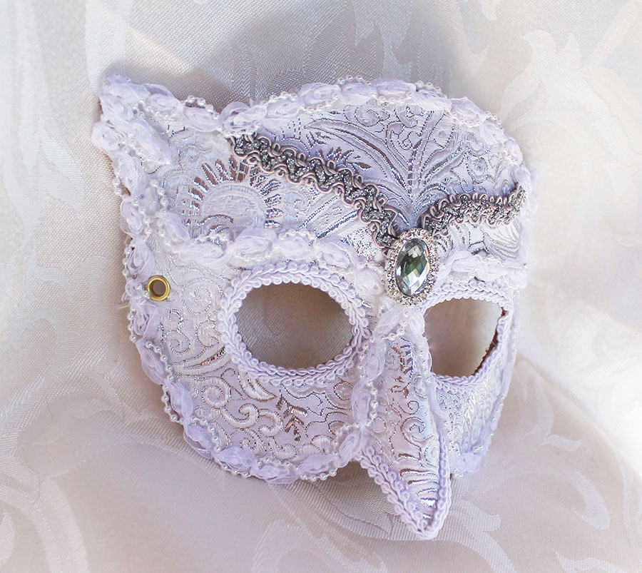 White Brocade Owl Masquerade Mask by DaraGallery