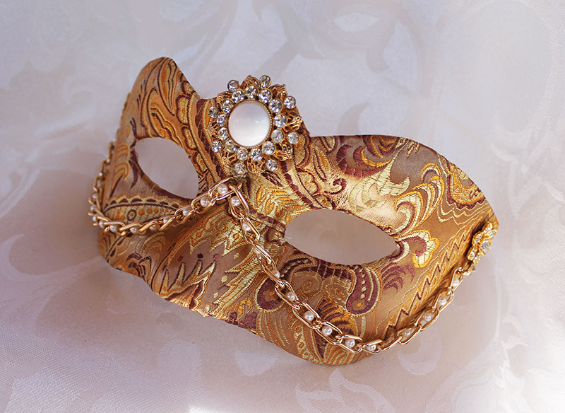 Gold  Masquerade Mask With Pearls by DaraGallery