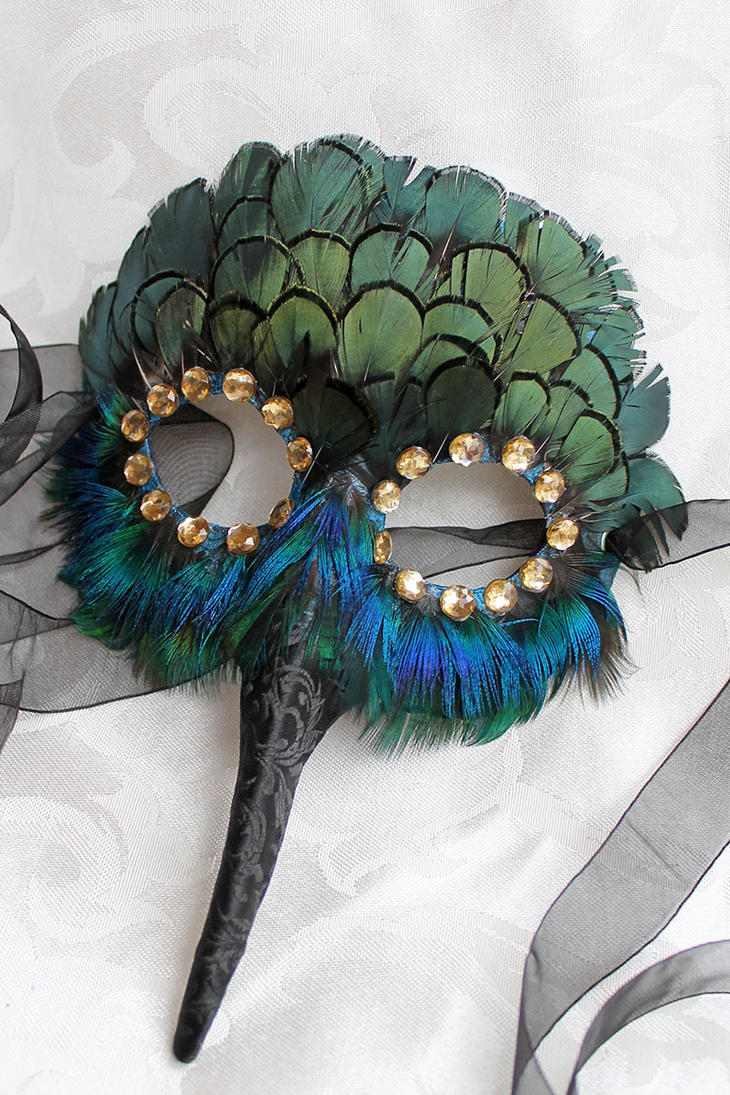 Leather Feather Hummingbird Mask by DaraGallery