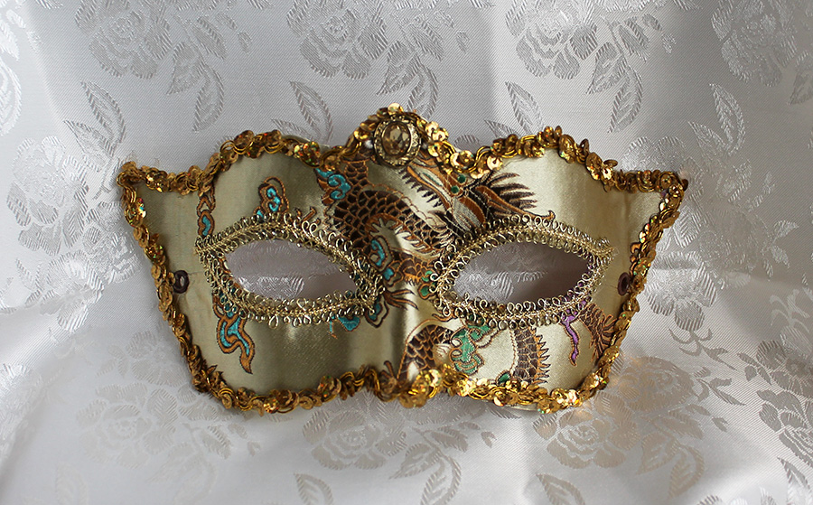 Champagne Satin Brocade And Leather Mask by DaraGallery