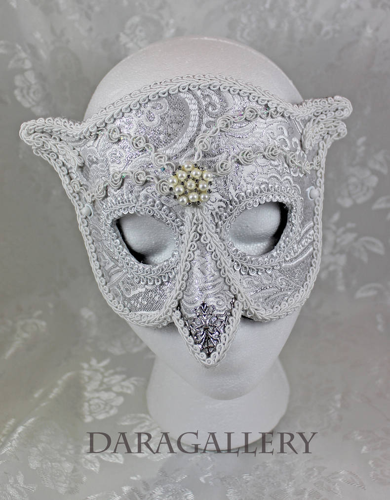 Snowy Owl Brocade Masquerade Mask by DaraGallery