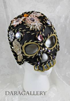 Jeweled Black Skull Mask