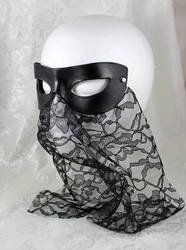 Black Leather And Lace Masquerade Mask by DaraGallery