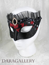 Black Satin Red Roses Mask by DaraGallery