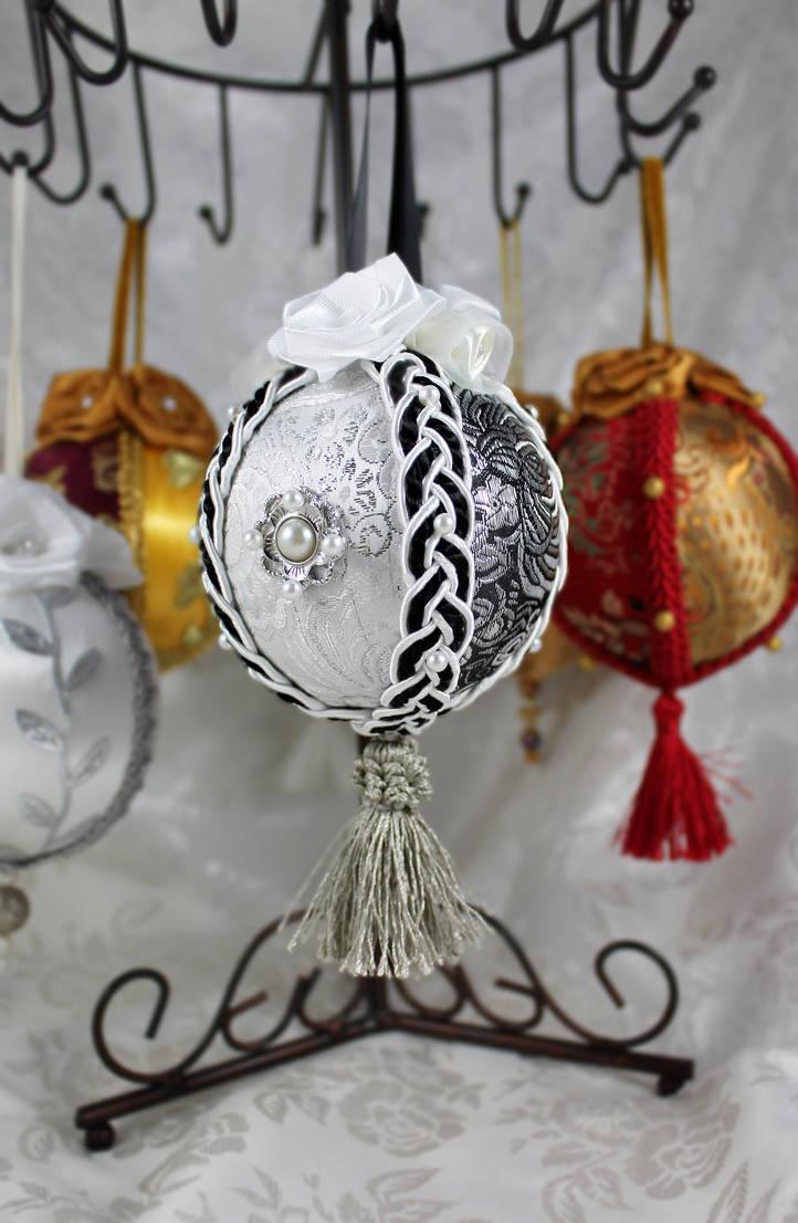 Black And Silver Brocade Ornament