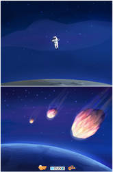 Rafadan Tayfa _ astronaut and meteors by omerayar