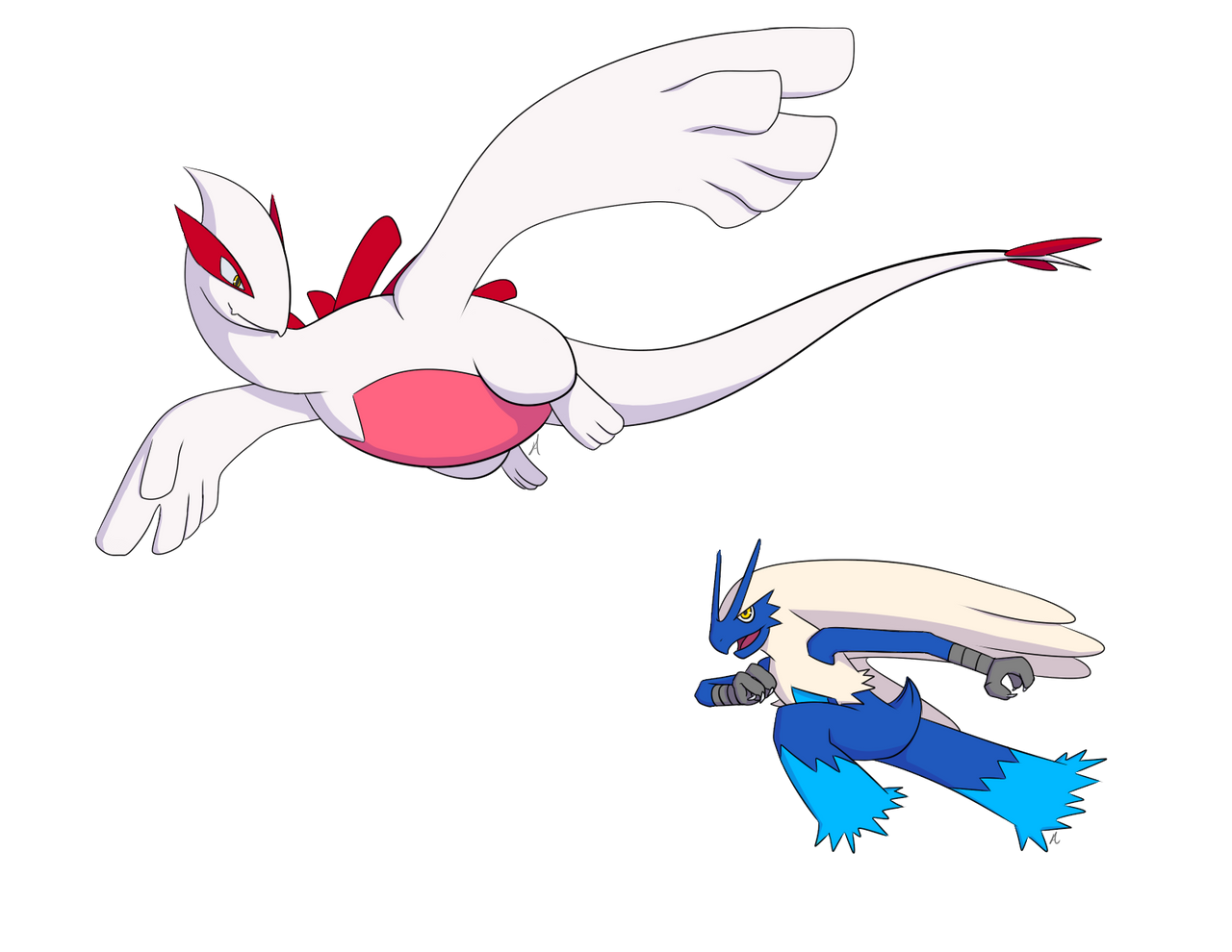Shiny Lugia and Blue Blaziken by Aeroire on DeviantArt